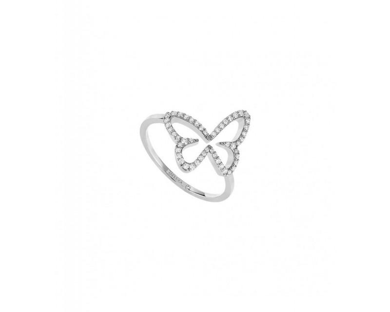 MESSIKA Bague Butterfly Ajouré or gris diamants