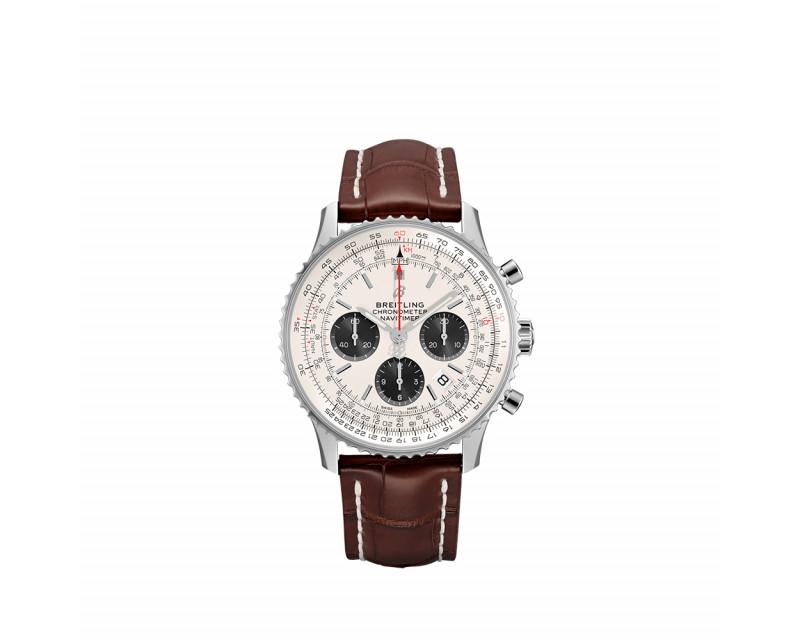 Montre Navitimer B01 Chronograph 43mm cadran argent bracelet alligator brun