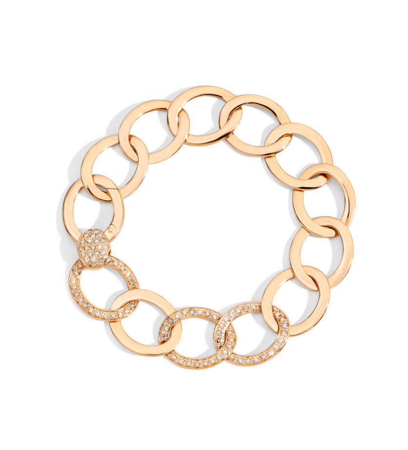 Bracelet Brera en or rose avec 3 maillons diamants bruns