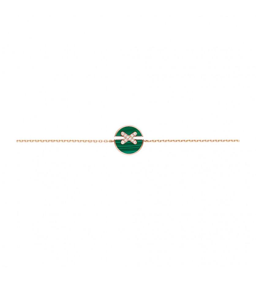 CHAUMET Bracelet Jeux de Liens Harmony en or rose, malachite et diamants sur chaîne (longueur ajusta