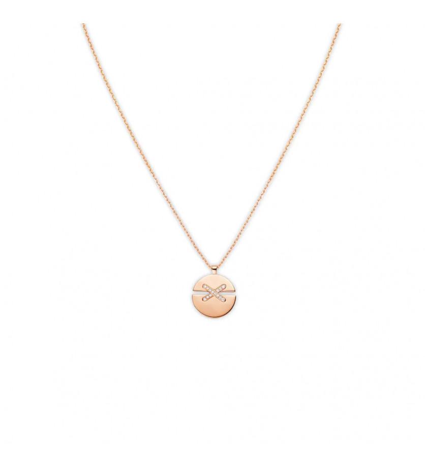 CHAUMET Pendentif Jeux de Liens Harmony MM or rose liens pavés diamants