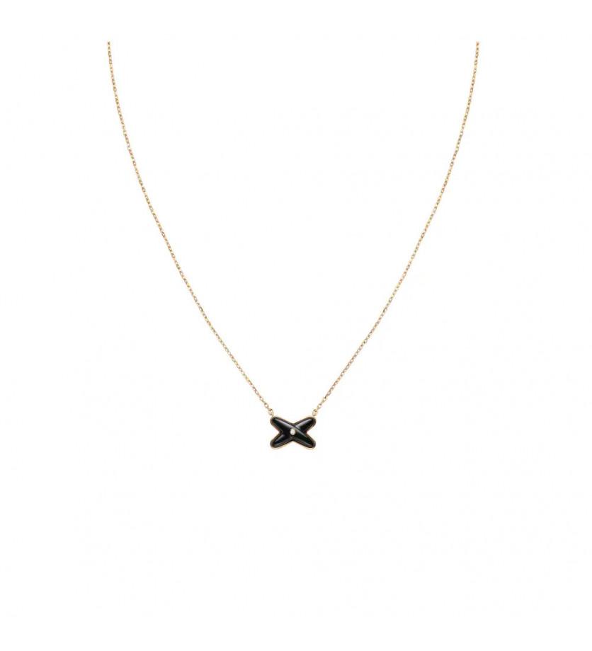 CHAUMET Pendentif Jeux de Liens en or rose, onyx et 1 diamant, sur chaîne or rose ajustable à 38, 40