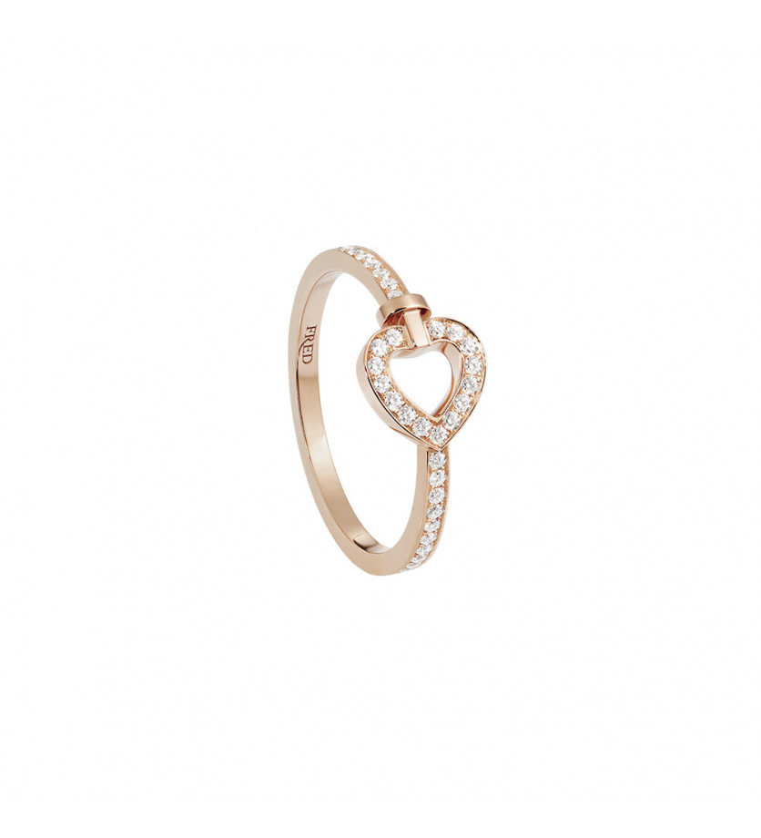 FRED Bague Pretty Woman mini or rose full pavé diamants