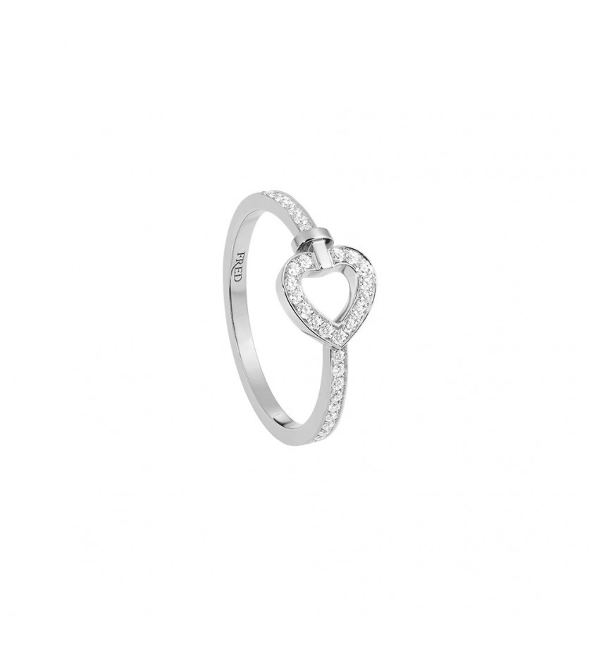 FRED Bague Pretty Woman mini or gris full pavé diamants