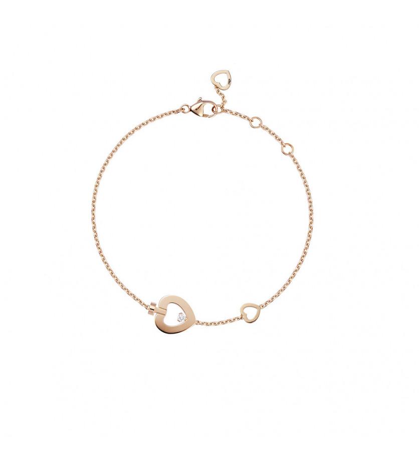 FRED Bracelet chaine Pretty Woman trés petit modèle or rose 1 diamant