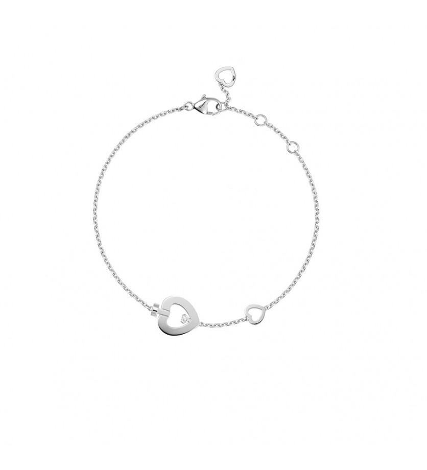 Bracelet chaine Pretty Woman trés petit modèle or gris 1 diamant