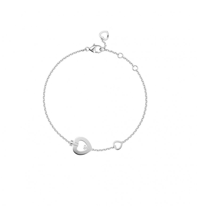 FRED Bracelet chaine Pretty Woman trés petit modèle or gris 1 diamant