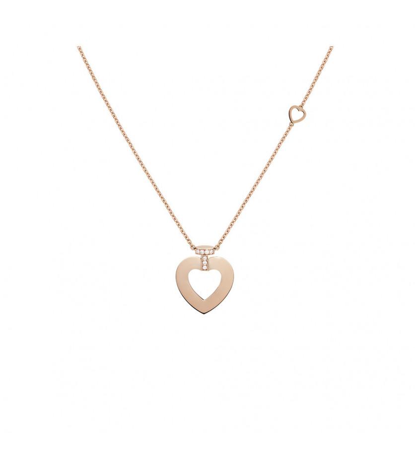 Collier chaine Pretty Woman moyen modèle or rose semi pavé diamants