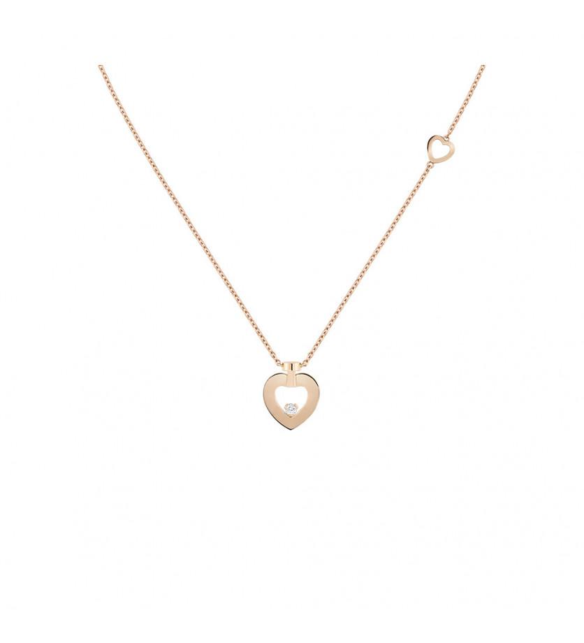 Collier chaine Pretty Woman trés petit modèle or rose 1 diamant