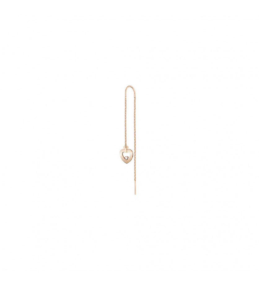FRED Boucle d'oreille pendante Pretty Woman mini or rose 1 diamant à l'unité