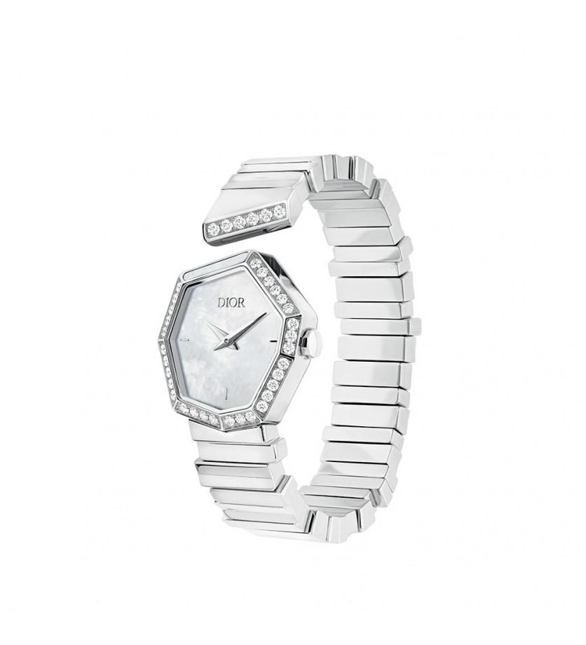 Montre Gem Dior 27mm Cadran Nacre Blanche Diamants