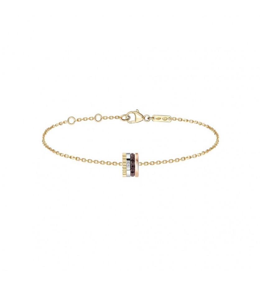 BOUCHERON Bracelet chaine Quatre Classique or jaune or rose or blanc 1 diamant PVD marron