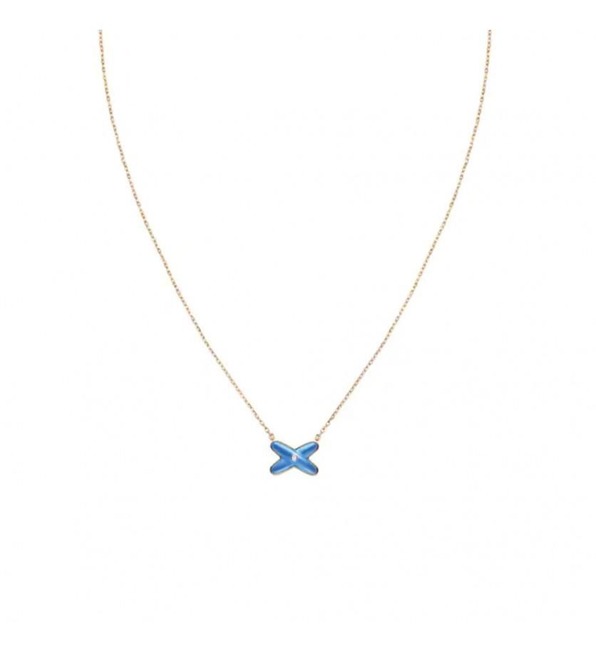 Pendentif Jeux de Liens or rose agate bleue 1 diamant, sur chaîne or rose ajustable à 38, 40 et 42 c
