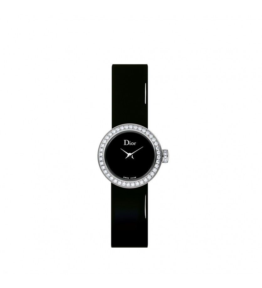 Montre La Mini D de Dior 19mm Cadran Nacre Noir Bracelet Veau Vernis Noir