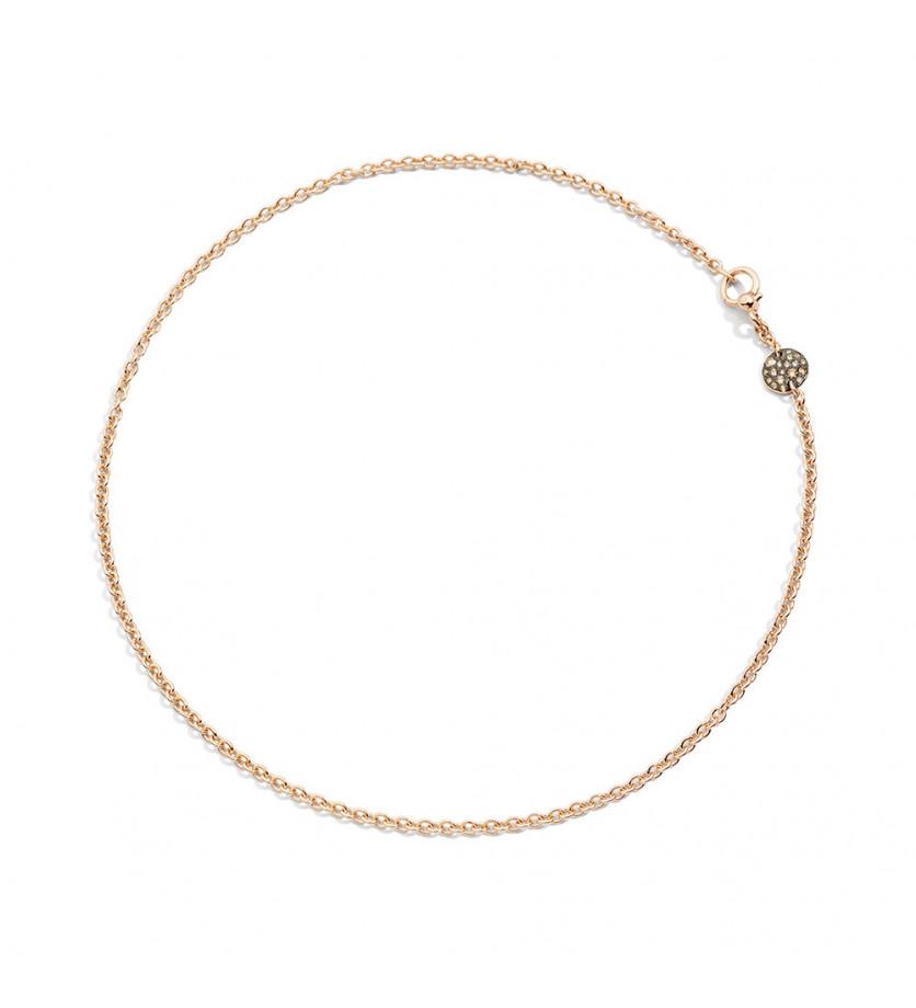 POMELLATO Collier Sabbia mini or rose pastille diamants bruns 40cm
