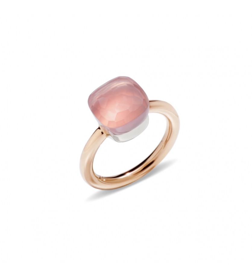 POMELLATO Bague Nudo or rose or gris quartz rose