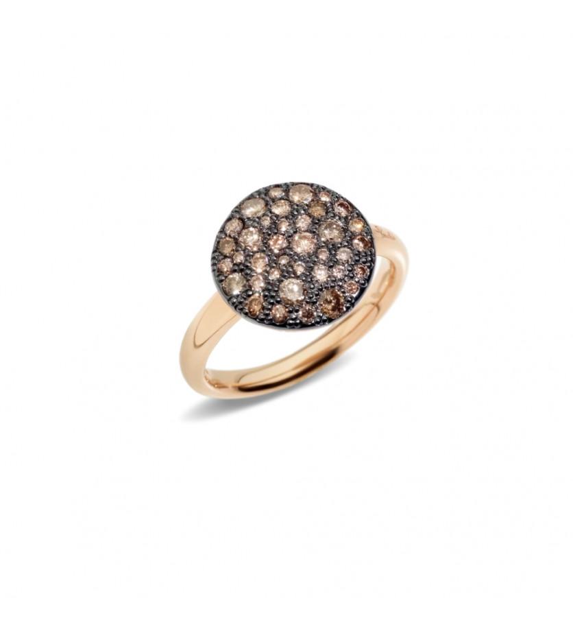 POMELLATO Bague Sabbia GM or rose diamants bruns