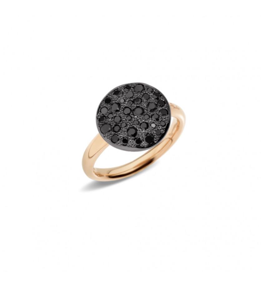 POMELLATO Bague Sabbia or rose diamants noirs