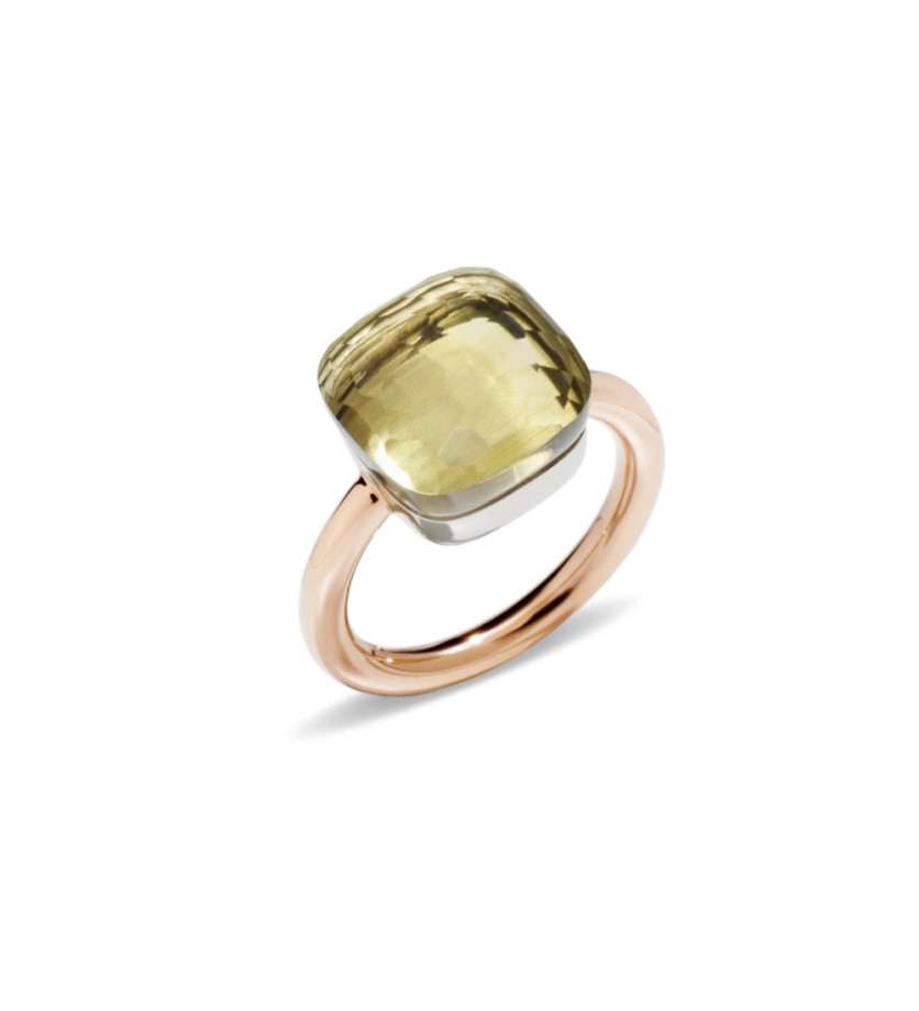 POMELLATO Bague Nudo GM or rose or blanc quartz lemon