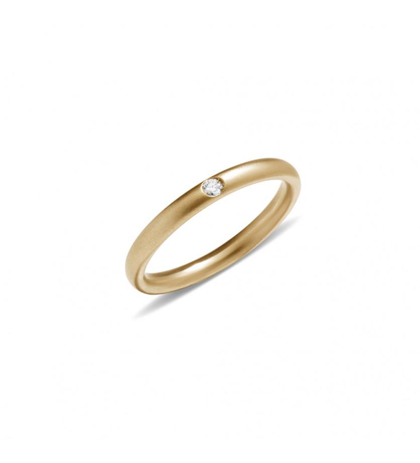 Anneau Lucciole or jaune sablé 1 diamant