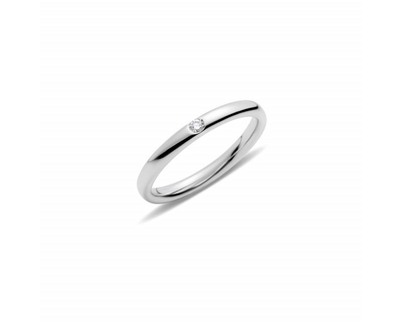 Anneau Lucciole or blanc rhodié 1 diamant