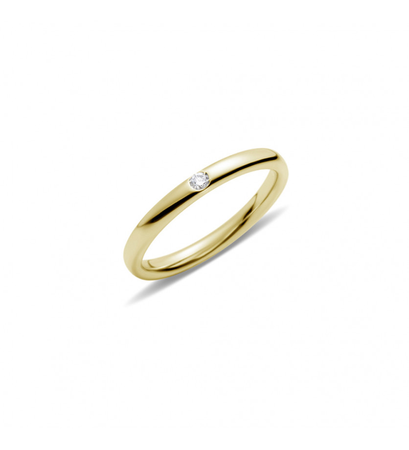 Alliance Lucciole or jaune poli 1 diamant