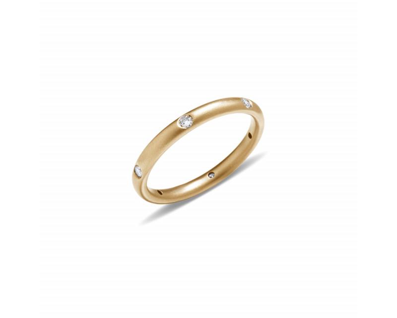 Anneau Lucciole or jaune sablé 6 diamants