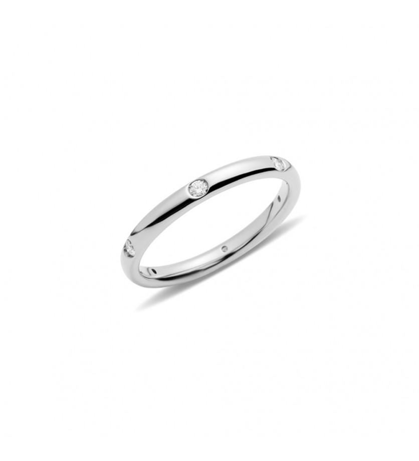 POMELLATO Anneau Lucciole or gris rhodié 6 diamants