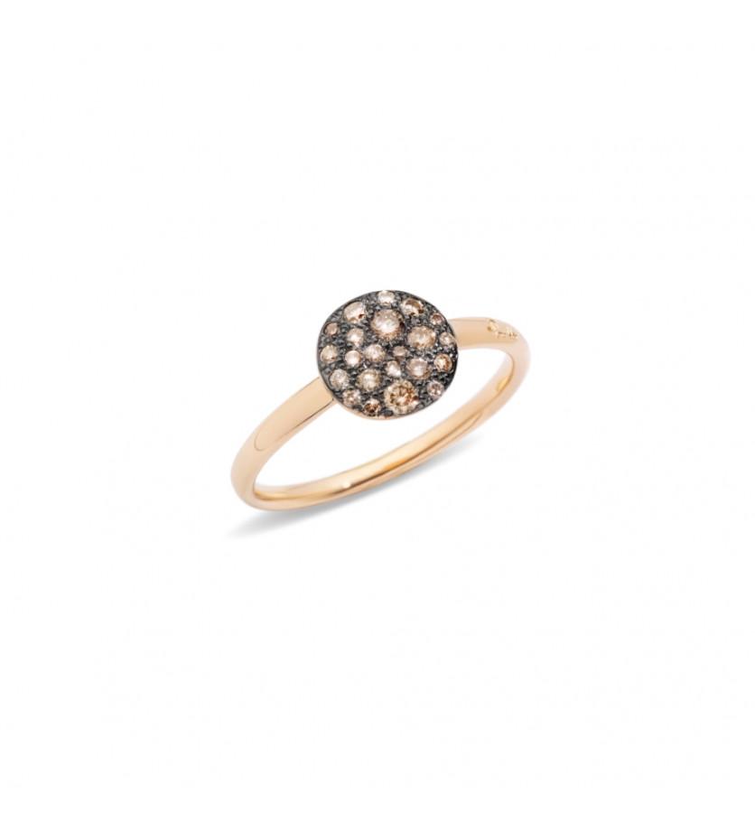 POMELLATO Bague Sabbia petit modèle ronde diamants bruns or rose