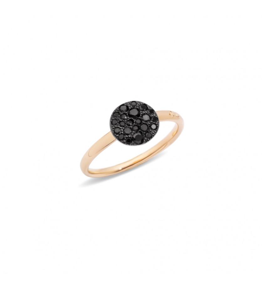 POMELLATO Bague Sabbia petit modèle ronde diamants noirs or rose