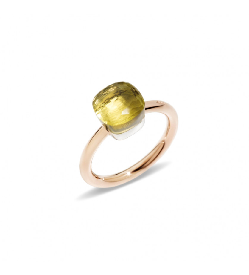 POMELLATO Bague Nudo PM or rose or gris quartz Lemon