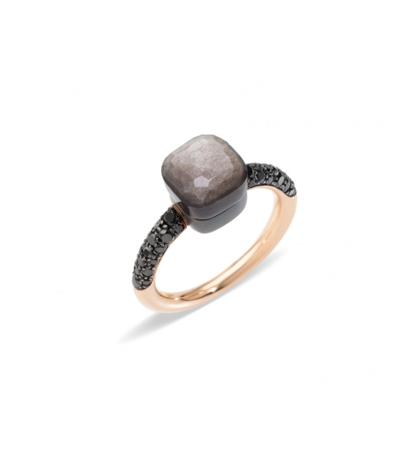 POMELLATO Bague Nudo PM or rose et titane 1 obsidienne diamants noirs