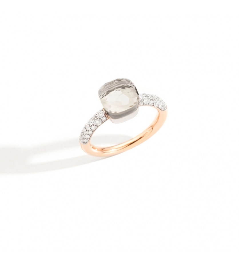 Bague Nudo PM or gris or rose topaze blanche diamants