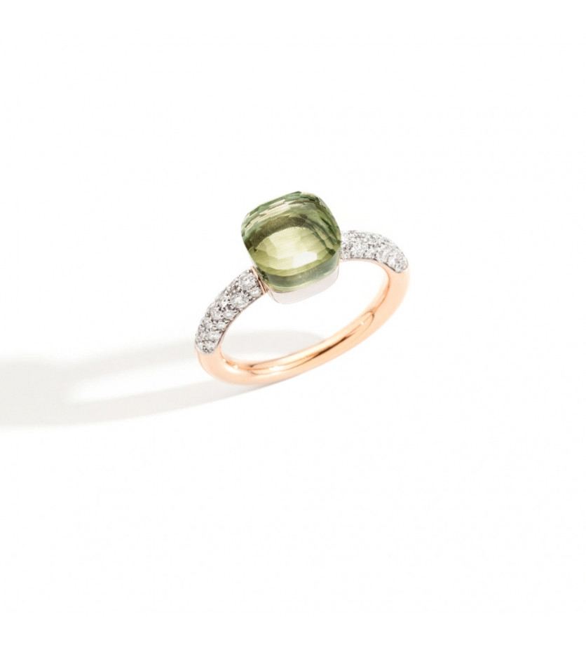POMELLATO Bague Nudo PM or gris or rose prasiolite diamants
