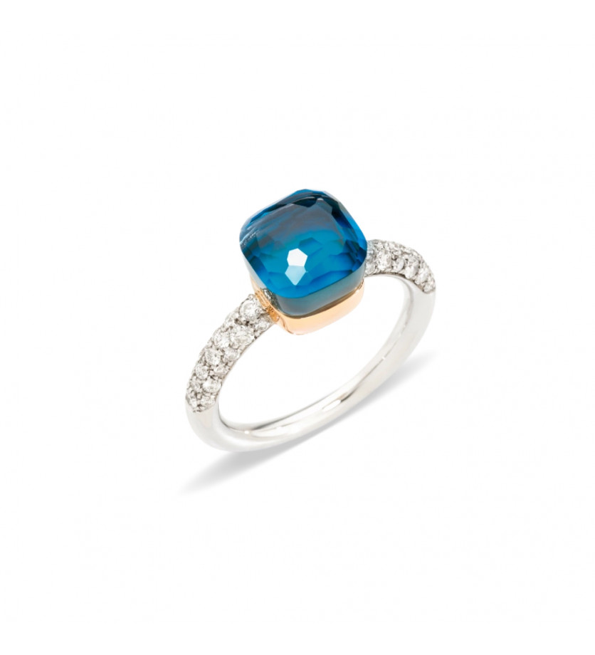 POMELLATO Bague Nudo PM or gris et rose topaze bleu London turquoise diamants