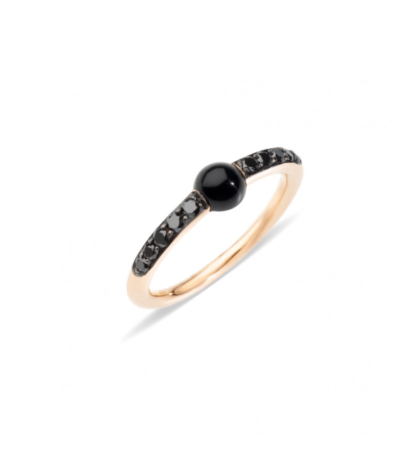 POMELLATO Bague M'ama Non M'ama or rose onyx diamants noirs