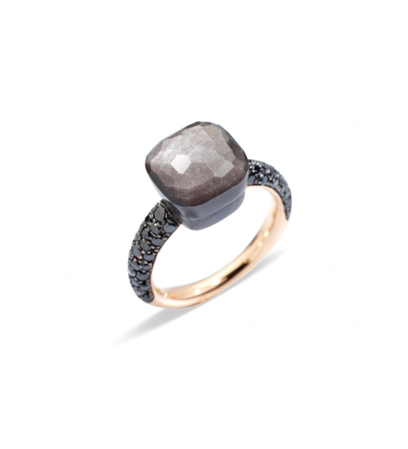 POMELLATO Bague Nudo or rose titane 1 obsidienne diamants noirs