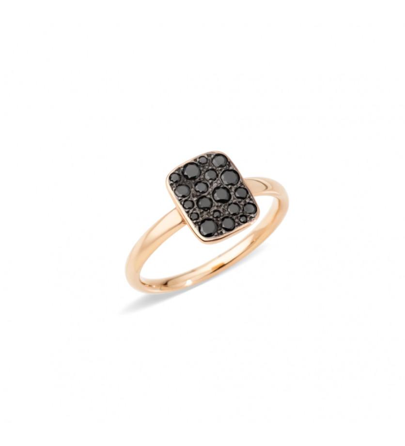 Bague Sabbia petit modèle rectangle diamants noirs or rose