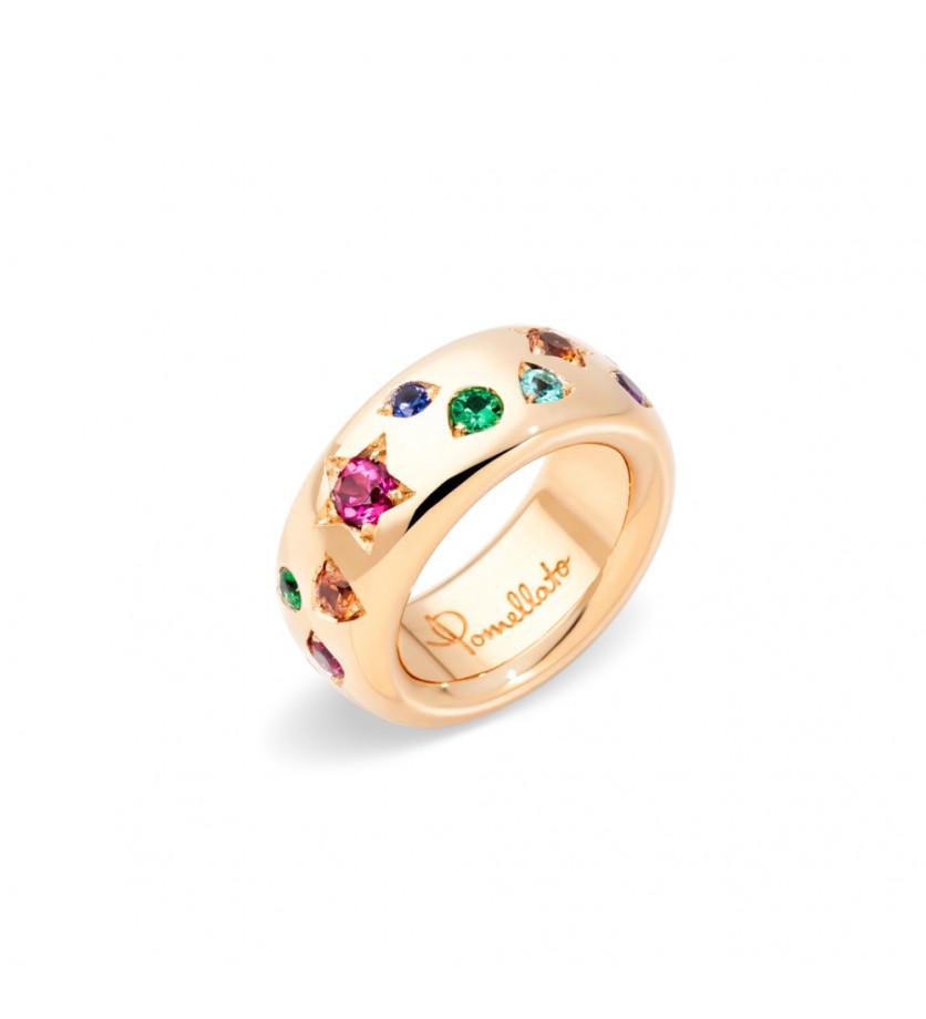 POMELLATO Bague Iconica grand modèle or rose, tourmalines roses, saphirs oranges, saphirs bleus, tsa