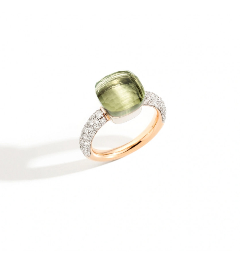 Bague Nudo classique or gris or rose prasiolite diamants