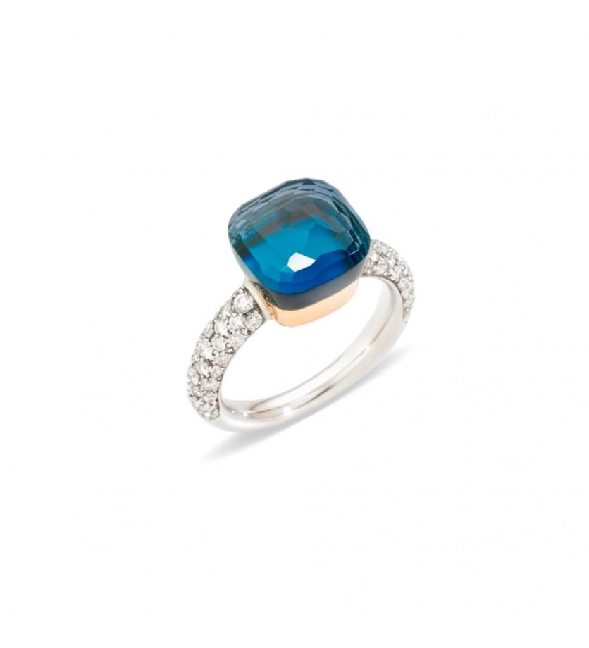 POMELLATO Bague Nudo classique or gris or rose topaze bleu London turquoise diamants