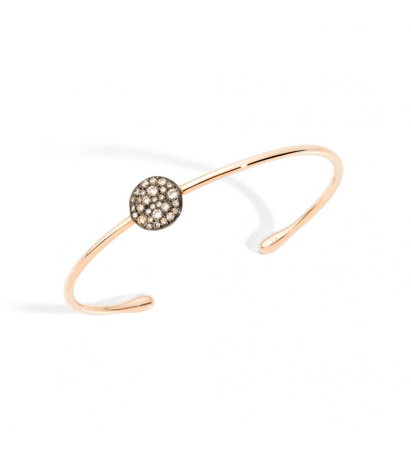 Bracelet jonc Sabbia or rose diamants bruns 16mm