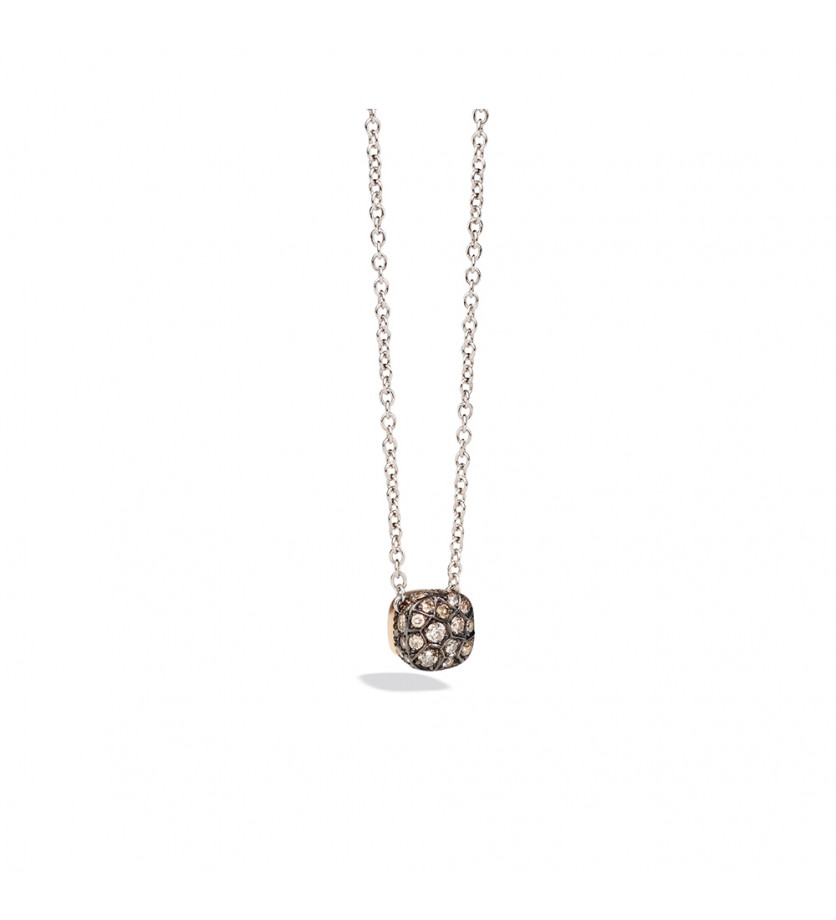 POMELLATO Collier Nudo or rose/or blanc diamants bruns