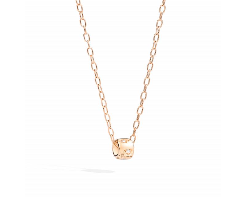 Pendentif Iconica un élément or rose constellé de diamants sur chaîne en or rose