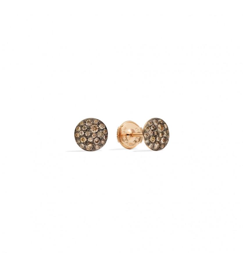 Boucles d'oreille puces Sabbia or rose diamants bruns