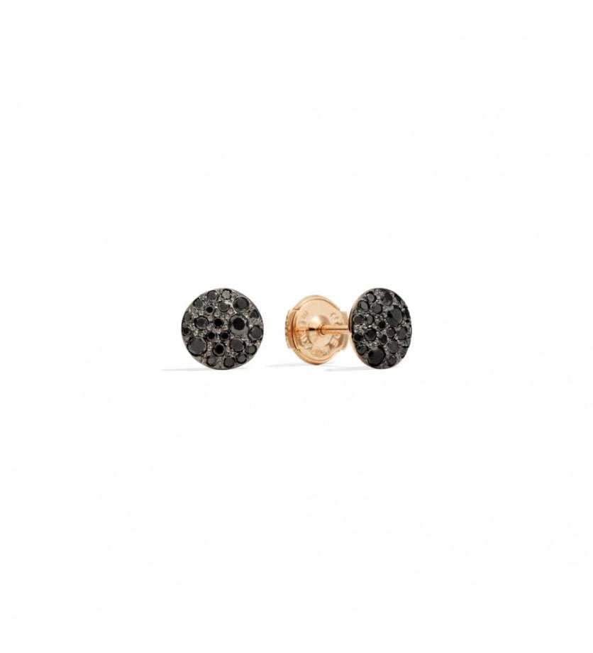 POMELLATO Paire de boucles d'oreilles Sabbia studs or rose pavé diamants noirs