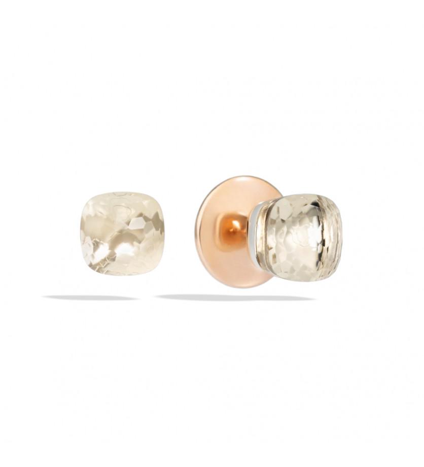 Boucles d'oreille Nudo or rose or gris topaze blanche