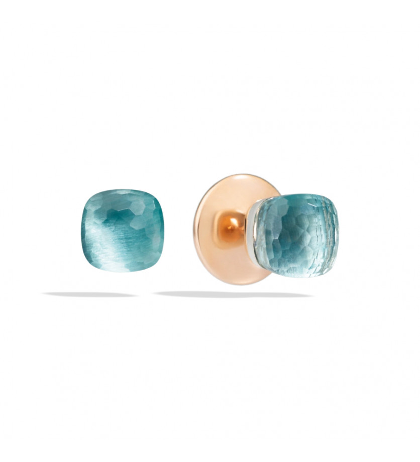 Boucles d'oreille Nudo or rose or blanc topaze bleue