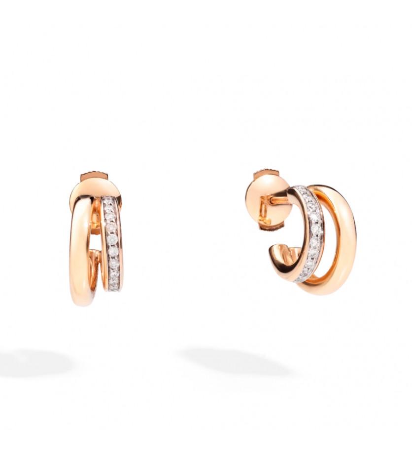 Boucles d'oreilles or rose diamants double