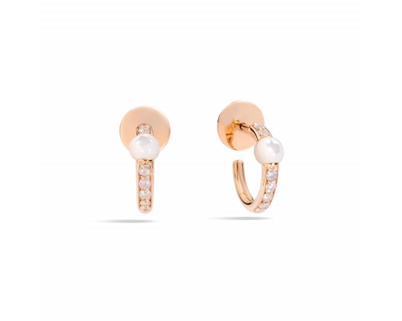Boucles d'oreilles petites créoles M'ama Non M'ama or rose nacre blanche et diamants icy